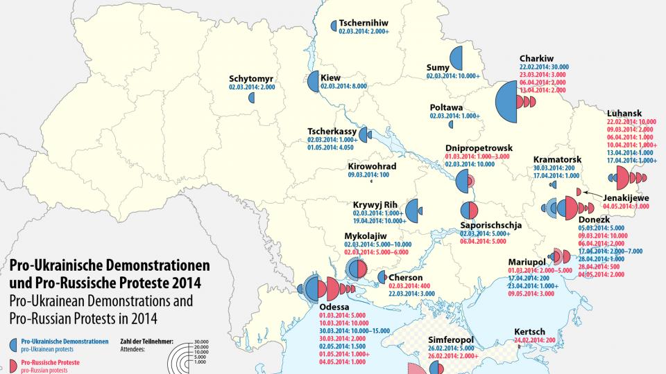 Karte der pro-Ukrainischen und pro-Russischen Proteste in den Städten der Ukraine während der Ukraine-Krise im Jahr 2014